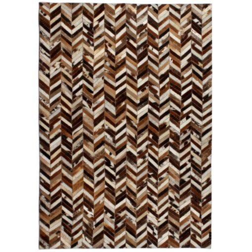 vidaXL tæppe ægte kolæder patchwork 120 x 170 cm dobbeltvinkel brun/hvid
