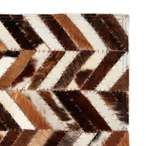 vidaXL tæppe ægte kolæder patchwork 160 x 230 cm dobbeltvinkel brun/hvid