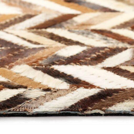 vidaXL tæppe ægte kolæder patchwork 190 x 290 cm dobbeltvinkel brun/hvid