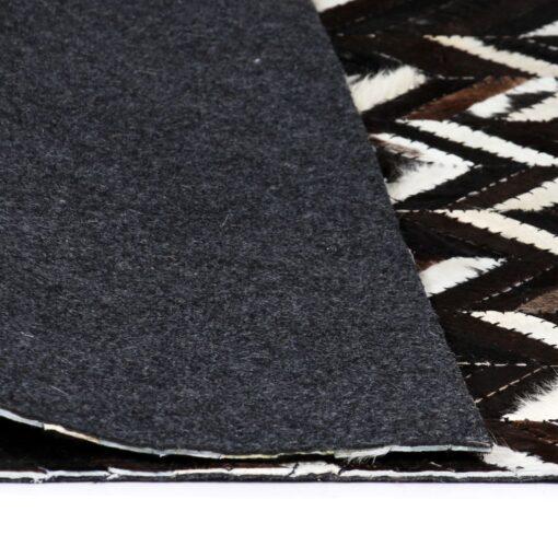 vidaXL tæppe ægte kolæder patchwork 80 x 150 cm dobbeltvinkel sort/hvid