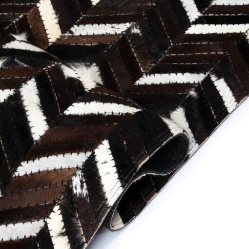 vidaXL tæppe ægte kolæder patchwork 120 x 170 cm dobbeltvinkel sort/hvid
