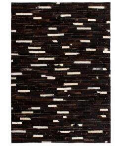 vidaXL tæppe ægte kolæder patchwork 160 x 230 cm stribet sort/hvid