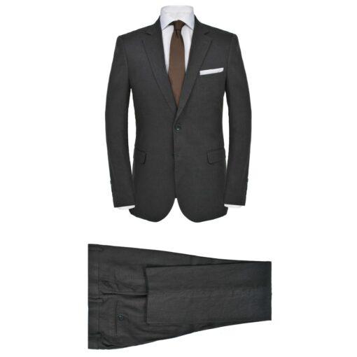 vidaXL jakkesæt til herrer i 2 dele lærred størrelse 50 mørkegrå