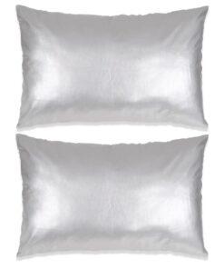 vidaXL pudesæt 2 stk. PU 40 x 60 cm sølvfarvet