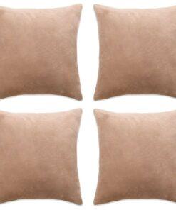vidaXL pudebetræk 4 stk. velour 80 x 80 cm beige