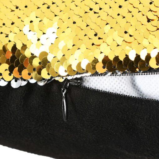 vidaXL pudesæt med pailletter 2 stk. 45 x 45 cm guldfarvet og sølvfarvet