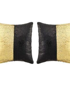 vidaXL pudesæt med pailletter 2 stk. 45 x 45 cm sort og guldfarvet