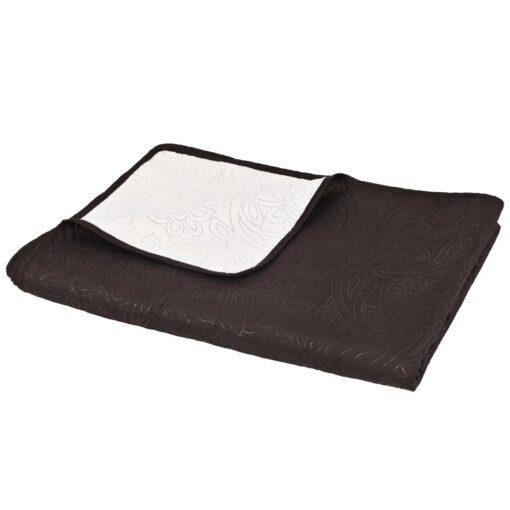 vidaXL dobbeltsidet quiltet sengetæppe 230 x 260 cm cremehvid og brun