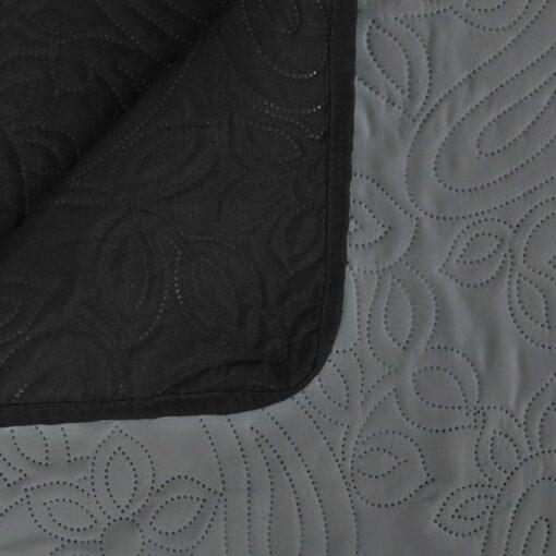 vidaXL dobbeltsidet quiltet sengetæppe 170 x 210 cm grå og sort