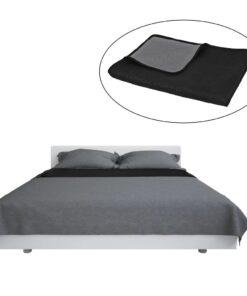 vidaXL dobbeltsidet quiltet sengetæppe 230 x 260 cm grå og sort