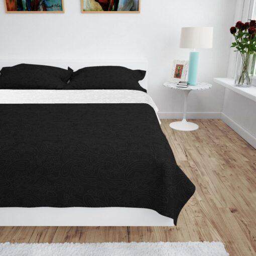 vidaXL dobbeltsidet quiltet sengetæppe 220 x 240 cm sort og hvid