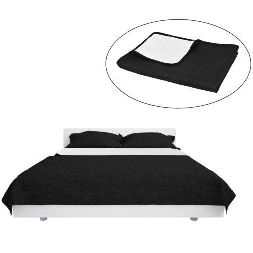 vidaXL dobbeltsidet quiltet sengetæppe 230 x 260 cm sort og hvid