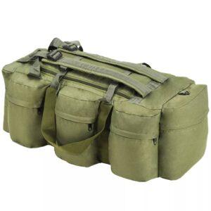 vidaXL 3-i-1 duffeltaske i militærstil 120 l olivengrøn