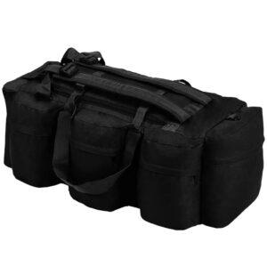vidaXL 3-i-1 duffeltaske i militærstil 120 l sort