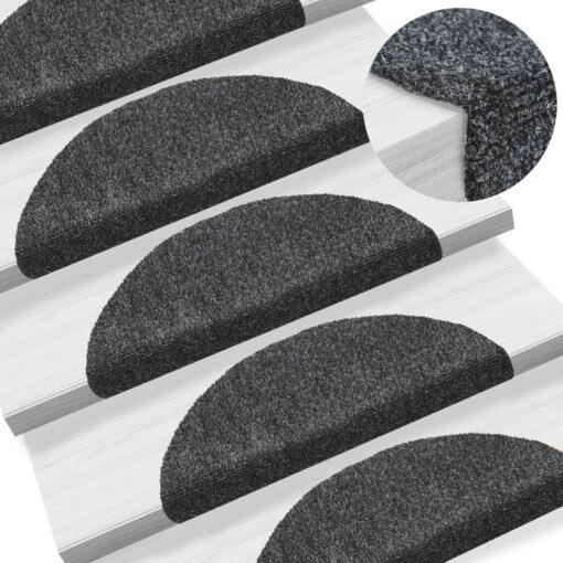 vidaXL selvklæbende trappemåtter 15 stk. tuftet 56 x 20 x 4 cm mørkegrå