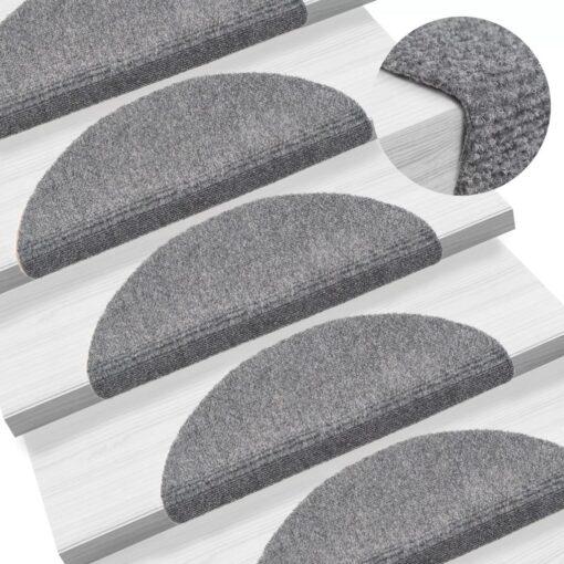 vidaXL selvklæbende trappemåtter 15 stk. tuftet 56 x 20 x 4 cm lysegrå