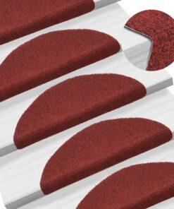vidaXL selvklæbende trappemåtter 15 stk. tuftet 56 x 20 x 4 cm rød