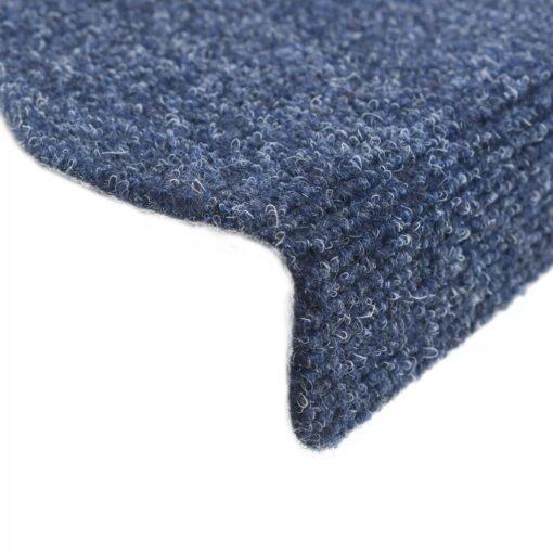 vidaXL selvklæbende trappemåtter 15 stk. tuftet 56 x 20 x 4 cm blå