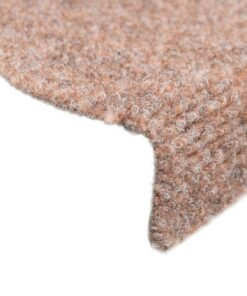 vidaXL 15 stk. selvklæbende trappemåtter punch needle 65 x 21 x 4 cm brun