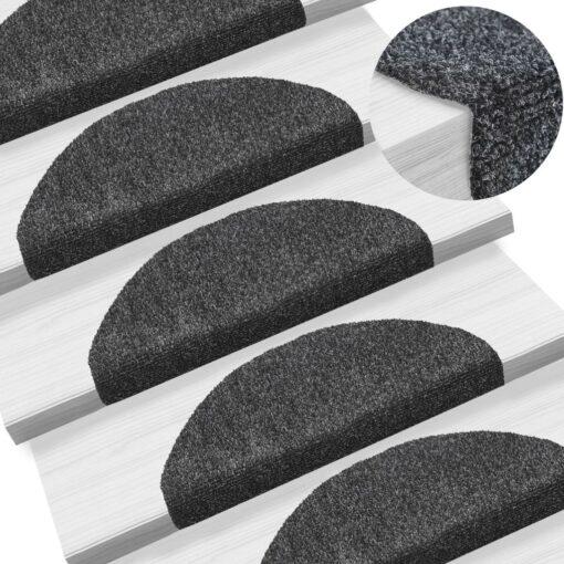 vidaXL selvklæbende trappemåtter 15 stk. nålenagle 65 x 21 x 4 cm mørkegrå