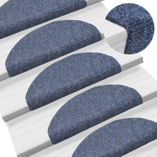 vidaXL selvklæbende trappemåtter 15 stk. nålenagle 65 x 21 x 4 cm blå