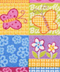 vidaXL legetæppe loop-pile 133 x 180 cm sommerfuglemønster