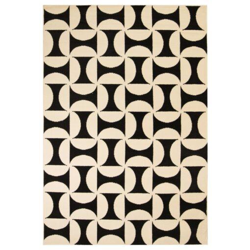 vidaXL moderne tæppe geometrisk design 140 x 200 cm beige/sort