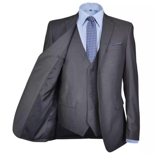 vidaXL businessjakkesæt til herre i 3 dele størrelse 56 antracitgrå