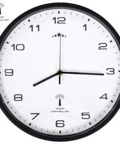 vidaXL radiostyret vægur med kvarts-urværk 31 cm hvid og sort
