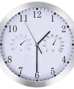vidaXL vægur med kvarts-urværk hygrometer og termometer 30 cm hvid