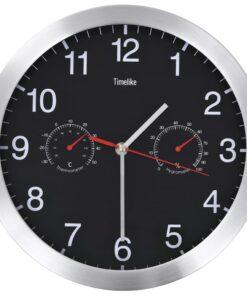 vidaXL vægur med kvarts-urværk hygrometer og termometer 30 cm sort