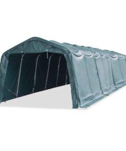 vidaXL flytteligt læskur til husdyr PVC 550 g/m² 3,3 x 12,8 m mørkegrøn