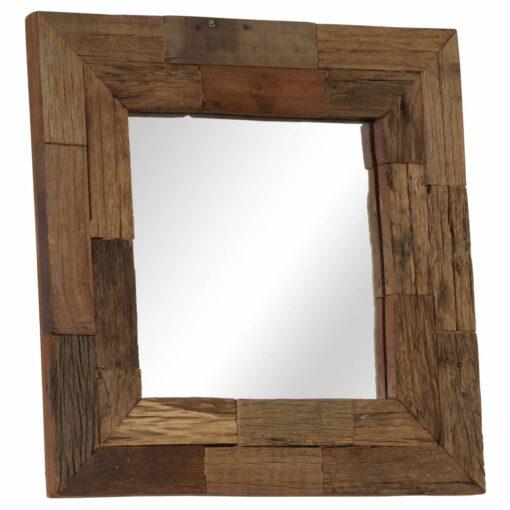 vidaXL spejl 50 x 50 cm massivt genbrugstræ
