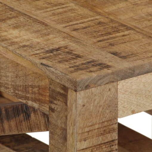 vidaXL sofabord med hjul massivt mangotræ 110 x 50 x 37 cm