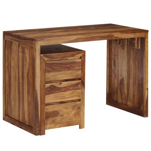 vidaXL skrivebord massivt sheeshamtræ 110 x 55 x 76 cm