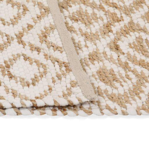 vidaXL håndvævet jutetæppe stof 120 x 180 cm naturfarvet og hvid