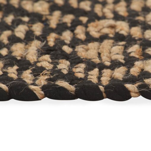 vidaXL håndvævet jutetæppe stof 120 x 180 cm naturfarvet og sort