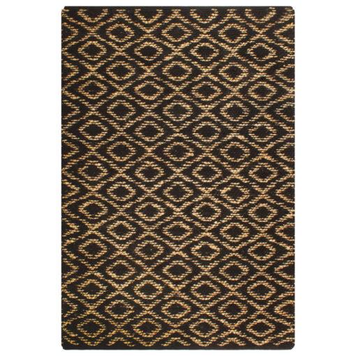 vidaXL håndvævet jutetæppe stof 160 x 230 cm naturfarvet og sort