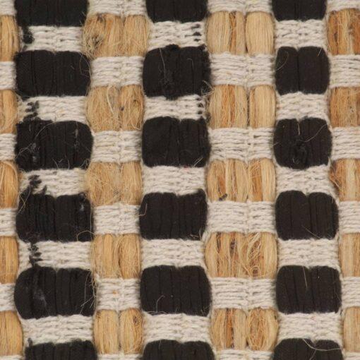 vidaXL bademåttesæt i håndvævet jute stof naturfarvet og sort