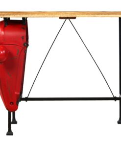vidaXL traktor-barbord i massivt mangotræ rød 60 x 120 x 107 cm