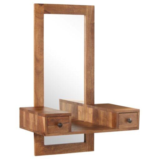 vidaXL kosmetikspejl med 2 skuffer massivt sheeshamtræ