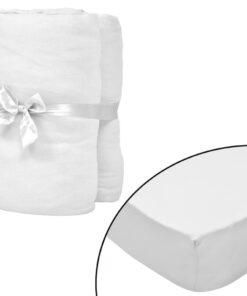 vidaXL formsyede lagener til vugger 4 stk. bomuldsjersey 70 x 140 cm hvid