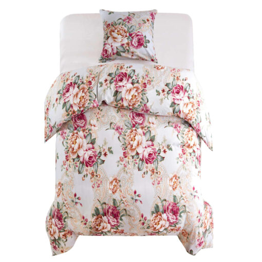 vidaXL sengesæt 140×220/60×70 cm blomsterprint flerfarvet