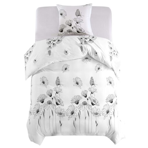 vidaXL sengesæt 135×200/80×80 cm blomsterprint hvid