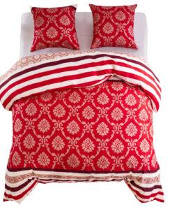 vidaXL sengesæt 200×200/80×80 cm stribet design rød