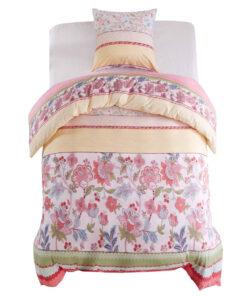 vidaXL sengesæt 155×220/80×80 cm blomster/striber pink