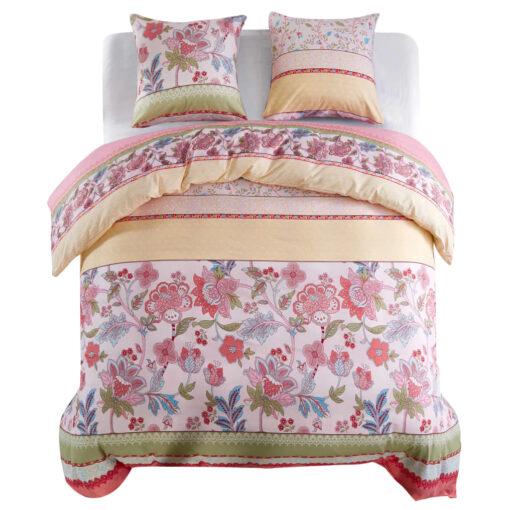 vidaXL sengesæt 200×200/80×80 cm blomster/striber pink