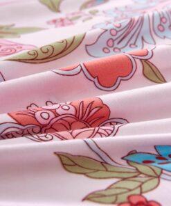 vidaXL sengesæt 200×200/60×70 cm blomster/stribet pink