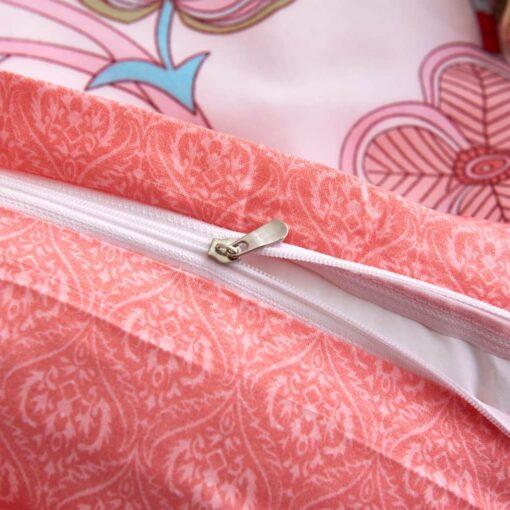 vidaXL sengesæt 200×220/60×70 cm blomster/striber pink