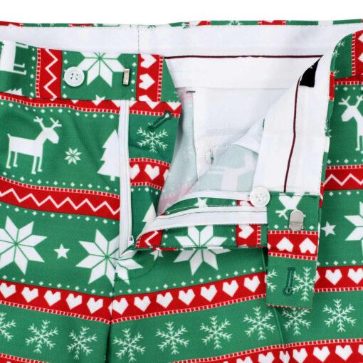 vidaXL jakkesæt i 2 dele med slips juledesign str. 54 grøn